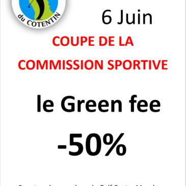 Compétition Commission sportive presqu'ile Green fee – 50%